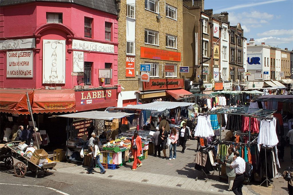 Market in the East End of London