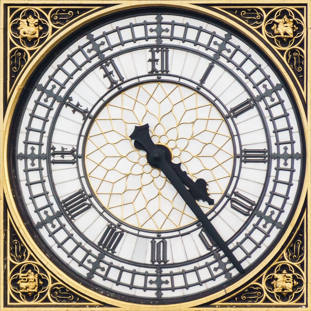 Close up of the clock face on Big Ben's tower